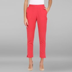 Janasya Women's Pink Pure Cotton Narrow Pant(BTM032)