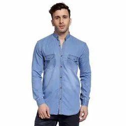 Hangup Blue Mens Denim Fancy Shirt, Size: 38-44