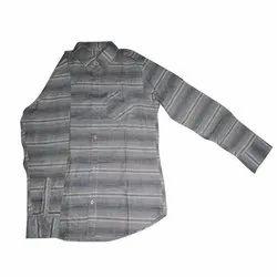Cotton Collar Neck Men Full Sleeve Striped Shirt