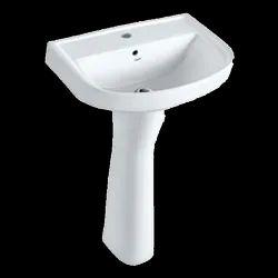 Ceramic White Pedestal Wash Basin, For Bathroom