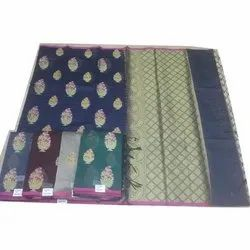 Party Wear Chanderi designer sarees, With Blouse, 6.3 m