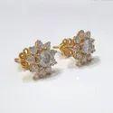 Round Screw Back Stud Earrings in 18k gold, Moissanite Diamond Stud Earrings, Moissanite Earrings