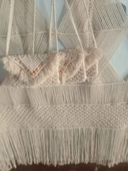 Cream Vardhaman Knitting Yarn Macrame Sling Bag, For Casual Wear