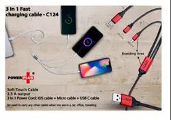 C124 3 In 1 Fast Charging Soft Touch Cable 2.5A Output (For Micro, Type c And Ios)