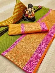Leranath Fashion Border Print Heavy Silk Indian Wear Saree, With Blouse Piece, 5.5 m (separate blouse piece)