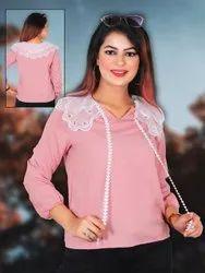 Full Sleeves Pink Women Fancy Top, Size: Free Size