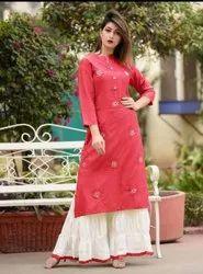 Heavy Reyon Kurti With Ghaghra Style Plazo