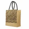 Printed Loop Handle Jute Shopping Bag, Capacity: 5 Kg