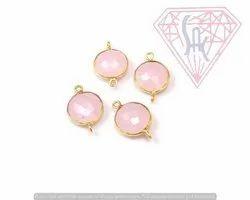 Pink Chalcedony Bezel Connector