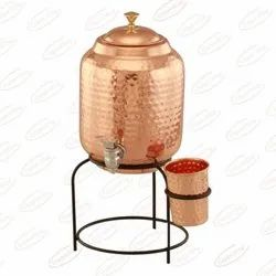 Hammered Pure Copper Matka Water Pot With Stand, Size: 5Ltr, Capacity: 5000ml