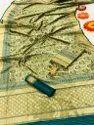 Pure Printed Banarasi Silk Saree With Zari Woven Paloo
