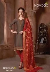 Nayaab Gray Kurta With Beautiful Banarasi Dupatta