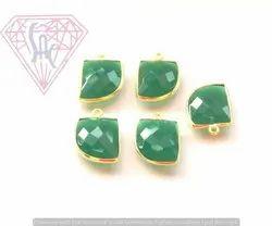 Green Onyx Gemstone Bezel Connector