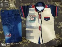 Latest Fancy Denim Shirt & Pant Set For Boys