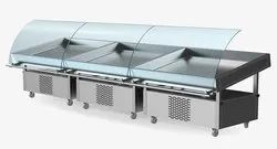 Curved SS Bend Glass Fish Display Counter (Cold), For Commercial