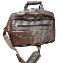 Ganpati Graphics Plain Office Brown Leather Bag