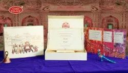 Indian Traditional Horizantal Box wedding cards, 3 Leaflet, Size/Dimension: 9.25 X 12.25