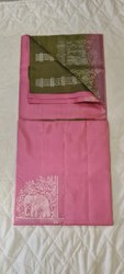 French Rose & Army Colors Silk Saree