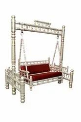 Sankheda Handicraft Golden & White Wooden Swing With Stand
