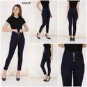 Mm-21 Zipper Navy Blue Denim 5-button High Waist Skinny Fit Jeans For Women