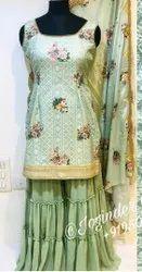 Designer Fabrisc Lehenga And Jacket heavy multi (Embroidery) work garments, Size: Large