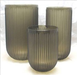 Dark Grey Premium Ribbed Glass Vase Set, Shape: Round