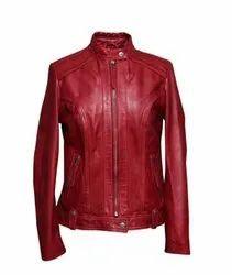 Full Sleeve Red Girls Leather Jacket
