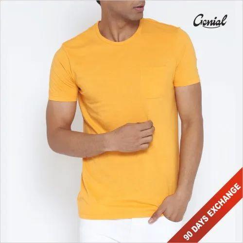 Men's Round Neck Half Sleeve Premium Cotton T-shirt with Pocket