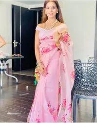 Leranath fashion Digital Print Organza Ladies Indian Wear Saree, With blouse piece, 5.5 m (separate blouse piece)