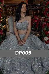 Grey Net Party Wear Designer Lehenga Choli