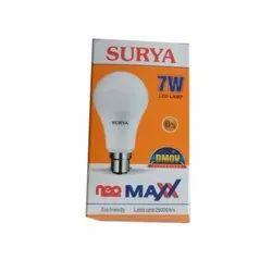 Cool White 7W Surya LED Lamp, B22, Shape: Round