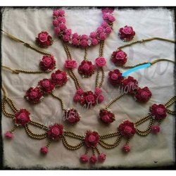 Pink Flower Haldi Set, Wedding