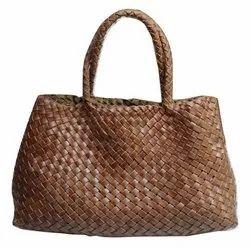Hand Weaved Leather Handbag, For Shopping