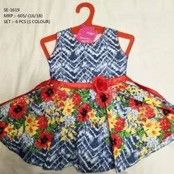 Fashionable Fancy Flower Printed Sleeves Less Long Frock For Girls