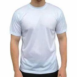 Round Half Sleeve Mens Plain Polyester T Shirt, Size: S-XL