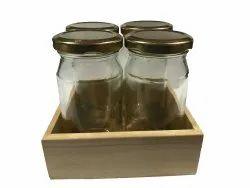 Pine Wood Tray With Glass 4 Jars -4.5x4.5x1.5