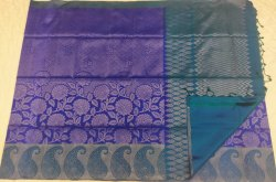 Blue On Violet Color Silk Saree