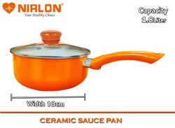 1.8l Nirlon Ceramic Non Stick Aluminum Induction Sauce Pan With Glass Lid