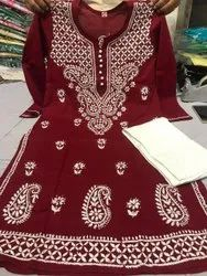 Cotton Formal Wear Ethnic Embroidered Kurti with pant, Wash Care: Handwash