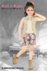 Hosiery Casual Wear Sleeveless Girls Top With Shorts, Size: 18-24