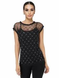 Beaded Grid Top With Camisole