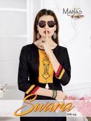 Manas Fab Swara Vol-4 Rayon Fabric With Work Kurti Catalog