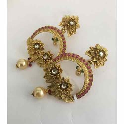 Hook Earring Golden Ladies Gold Rajwadi Brass Earrings
