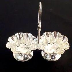 Metal Go-Siddhi Silver Plated Two Attached Haldi-Kunku Karanda, 1, Dimension: 6 Cm