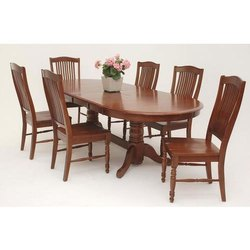 Brown 6 Seater Sagwan Wood Dining Table, For Home