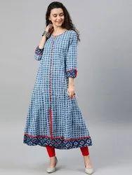 Cotton Checkered Anarkali Kurta