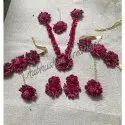 Paper Flowers Purple Flower Haldi Necklace Set, Wedding