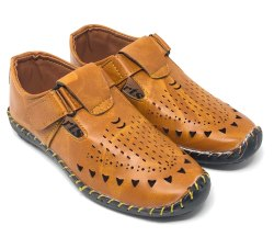 Tan PU Kids Loafer Sandals, Velcro