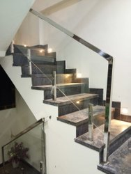 Toughened Stainless Steel Staircase Glass Railing, For Home