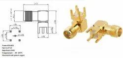 Hongsense SMA Connector Female RA, PCB Mount, Contact Material: Gold